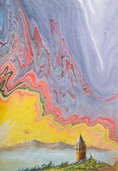 Ebru'da İstanbul düşleri | Etkinlik | Dünya Bülteni Haber Portalı Ebru Art, Artful Dodger, Earth Pigments, Istanbul, Turkish Art, Marble Art, Arabic Art, Islamic Art, Indian Art
