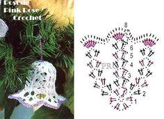 Pin on Christmas ornaments Crochet Christmas Decorations, Crochet Decoration, Crochet Ornaments, Christmas Crochet Patterns, Crochet Doily Patterns, Holiday Crochet, Crochet Snowflakes, Crochet Chart, Thread Crochet