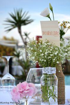Mise en Place allestimento tavoli banchetto nuziale centrotavola addobbo floreale matrimonio sulla spiaggi shabby chic #lovingmarche
