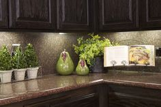 3 Kitchen Decorating Ideas for the Real Home - Kylie M Interiors how to decorate and accessorize a kitchen countertop for living or for home staging ideas Kitchen Decorating, Kitchen Staging, Kitchen Countertop Decor, Kitchen Cabinets, Kitchen Plants, Kitchen Counter Decorations, Dark Cabinets, Grape Kitchen Decor, Interior Decorating