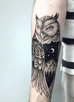 Owl Tattoo Back, Owl Tattoo Small, Colorful Owl Tattoo, Geometric Owl Tattoo, Cute Owl Tattoo, Tattoo Owl, Lion Tattoo, Mommy Tattoos, Girl Arm Tattoos