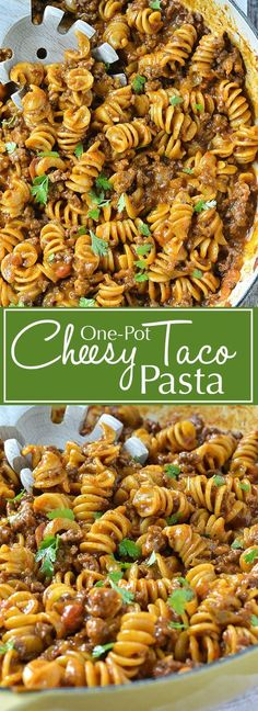 One-Pot Cheesy Taco Pasta | http://www.motherthyme.com