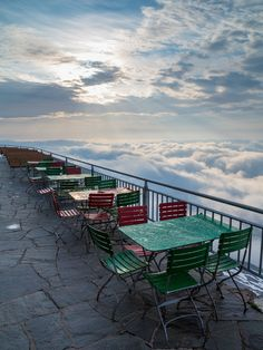 Sunrise on the Säntis (view from the Alter Säntis terrace), Switzerland.  Let's have lunch in the clouds!