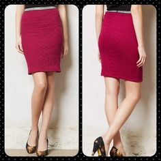 NWT- Moulinette Soeurs textured pencil skirt NWT- Voted one of the top 10 skirts for winter! Sparkle in this textured Moulinette Soeurs pencil skirt by Anthropologie. The vibrant rouge color is topped off with a silver shimmering waistband. Back zipper closure. Sold out!! Anthropologie Skirts