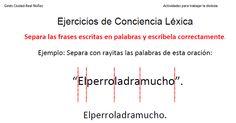 Conciencia léxica: capacidad para identificar y manipular las palabras que componen una frase. Ejercicios de Conciencia Léxica Segmentación de frases cortas