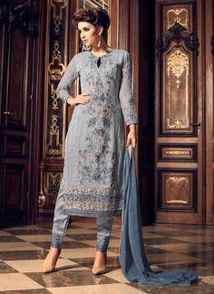 Designer Grey Georgette Embroidered Churidar Palazzo Suit Elegant Indian salwar kameez Click VISIT link above to read Pakistani Dresses, Indian Dresses, Indian Outfits, Salwar Kameez, Churidar, Salwar Suits, Anarkali, Indian Bridal Lehenga, Pantsuits For Women