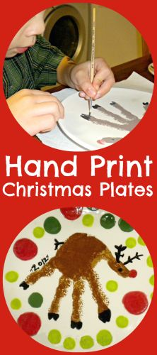 Hand Print Christmas Plates from www.fun-a-day.com.  Great keepsakes and presents that kids can help create.