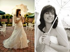 Bride with lace parasol. Photos by Casey Fatchett - www.fatchett.com