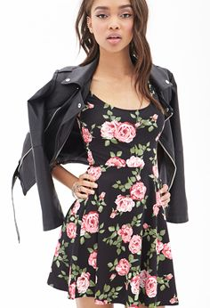 Floral Skater Dress worn with biker jacket - would also work with denim jacket.