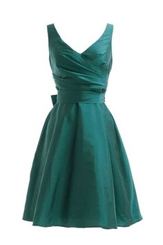 Vintage Short V Neck Satin Bridesmaid Dress with Bowknot Waist