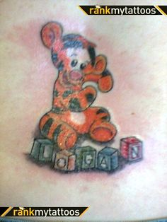 Baby Name Tattoos | Baby tiger playing with blocks Tiger Tattoo