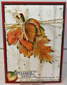 Woodland Embossing folder, Vintage leaves bundle, Amazing Birthday, Stampin' Up! Winter Cards, Fall Cards, Holiday Cards, Making Greeting Cards, Greeting Cards Handmade, Winter Karten, Happpy Birthday, Leaf Cards, Embossed Cards