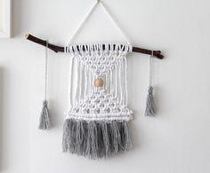 Small Macrame and Wool Wall Hanging - Grey / Nursery Decor / Nursery Wall Art