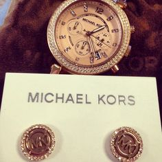 Michael Kors Watch and Earrings