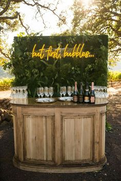 Always our motto! A Champagne Bar is Perfect for a Wedding or other Special Eve. Always our motto! A Champagne Bar is Perfect for a Wedding or other Special Event! Wedding Signs, Our Wedding, Wedding Venues, Dream Wedding, Rustic Wedding Bar, Cocktail Wedding Reception, Outdoor Wedding Reception, Event Planning, Wedding Planning