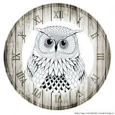 Clock Face Printable, Paper Clock, Owl Clock, China Painting, Decoupage Paper, Owl Art, Decoration Table, Drawing Sketches, Creations