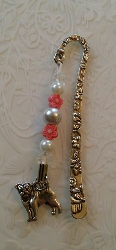 Dog Bookmarks Pug Dalmatian Dachsund Retriever or Scottie Dog with Crystal and flower beads Jack Russell Dogs, Organza Gift Bags, Scottie Dog, Dalmatian, Beaded Flowers, Color Show, Bookmarks, Color Change, Pugs