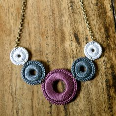 Crocheted Necklace  Plum Slate and Dove Grey by acupofgreenginger on etsy