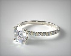 14K White Gold Thin French Cut Pave Set Diamond Engagement Ring | 17158W14 - Mobile