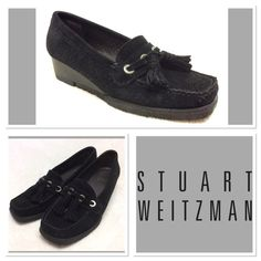 Stuart Weitzman  Black Wedges  Size 4 Black suede wedges for girls. They are in excellent condition. See photos. Your daughter can be as stylish as you! Or for a woman with very small feet! Stuart Weitzman Shoes Wedges