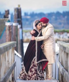 Bride In Maroon And Beige Lehenga And Groom In Beige Sherwani Punjabi Wedding Couple, Pakistani Wedding Outfits, Wedding Couple Poses, Sikh Wedding, Punjabi Couple, Wedding Couples, Couple Shoot, Wedding Ideas, Wedding Goals