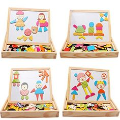 TIFENNY Multifunctional Drawing Writing Board Magnetic Puzzle Double Easel Wooden Toy