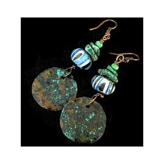 Rustic copper earrings with Verdigris Patina and Blue Green Lampwork... (105 ILS) ❤ liked on Polyvore featuring jewelry, earrings, vintage magazine, beaded earrings, green earrings, gypsy earrings, bohemian earrings and green turquoise earrings