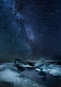 "Enjoy Iceland with us.is Milky way over the Glacier Lagoon, south coast of Iceland. Photo ""Glacier Lagoon Milky Way"" by Snorri Gunnarsson. Beautiful Sky, Beautiful World, Beautiful Places, Photography Tours, Nature Photography, Milky Way Photography, Ciel Nocturne, Photos Voyages, Jolie Photo"