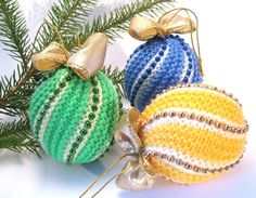 Christmas tree ornaments knitted Christmas Ornaments by Agutik, $8.45