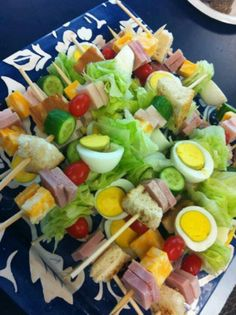 Chef salad on a stick - I could do chicken Caesar salad sticks for the parents?