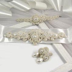 Wedding dress belt sash application wedding earrings and