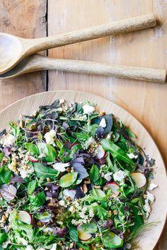 Baby Herb and Greens Salad with Walnuts, Radish, Feta and White Balsamic Vinaigrette