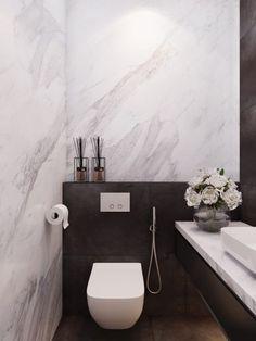 Modern Interior powder room by Shamsudin Kerimov Small Toilet Room, Guest Toilet, Downstairs Toilet, Tiny Powder Rooms, Modern Powder Rooms, Bad Inspiration, Bathroom Inspiration, Bathroom Interior, Modern Bathroom