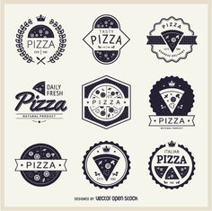 Set of insignias and emblems, all about pizza. Different styles and shapes, so you can shoose the one that fits you best!