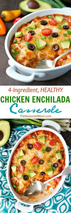 4-Ingredien Healthy Chicken Enchilada Casserole