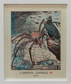 The British Empire spider, as imagined by German propagandists during the First World War, mocking the 'Entente Cordiale' (British-French alliance).