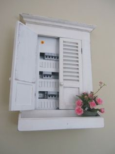 idea for electric box cover in basement - could hold pots of fresh spices or other plants...