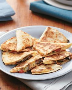 Mushroom (or any other veggie) & Swiss Quesadillas.  Goes GREAT with Chicken Soup with Scallions and Lemons...YUM
