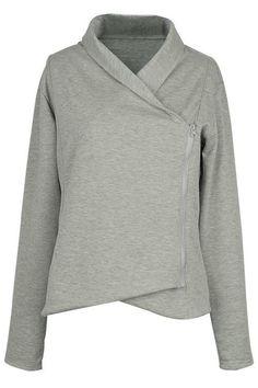 Chic Freely Grey Lapel Sweatshirt