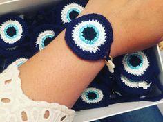 baptism witness crosses crochet evil eye bracelets by cottonprince.gr