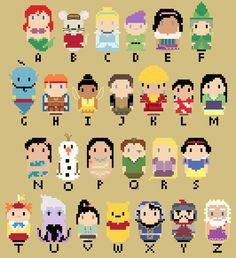 CHIBI--Disney Character Alphabet by kanitted on deviantART