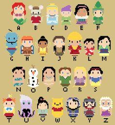 CHIBI--Disney Character Alphabet by kanitted on deviantART