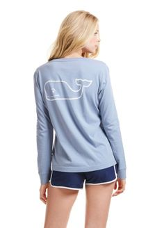 What's easy to put on, but hard to take off? The super-softness that is the Vineyard Vines Women's Long-Sleeve Vintage Whale Pocket Tee in Shark, of course. · 100% pima cotton · Garment washed for sof