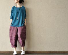 Loose Fitting Linen long Sleeve T Shirt Blouse for Women top - blue orange - for Autumn Dress (109)