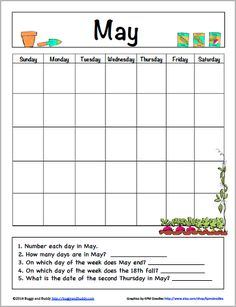 May Calendar for Kids (Free Printable) - Buggy and Buddy