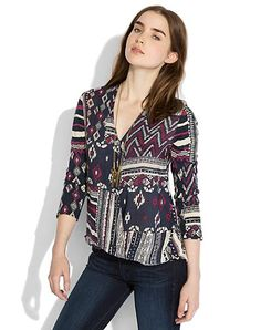Lucky brand. Patchwork print top