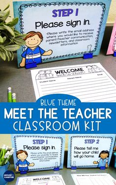 Meet the Teacher Back to School Night Parent Forms Stations Labels BLUE Manage Meet the Teacher Night like a pro with this editable classroom kit in a blue classroom decor theme. Includes 10 important parent form # 3rd Grade Classroom, Kindergarten Classroom, School Classroom, Classroom Decor, Classroom Organization, Classroom Management, Future Classroom, Kindergarten Activities, Back To School Night