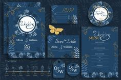 Blue Wedding Card Templates, Wedding Cards, Blue Gold Wedding, Thanks Card, Wedding Invitation Design, Name Cards, Print Templates, Save The Date Cards