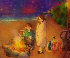"""♥ BEACH BONFIRE ~ """"Warm yourself by the fire and I'll roast some marshmallows for you!"""" ♥ by Puuung at grafolio.com/works/282282&from=cr_fd&folderNo=351 ♥"""