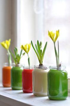 Enamel paint inside a jar - great splash of colour.
